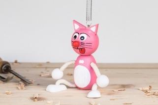 Kočka na pružině růžová