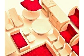 Dřevěný nábytek pro panenky - červená sada