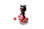 Černá kočka na pružině
